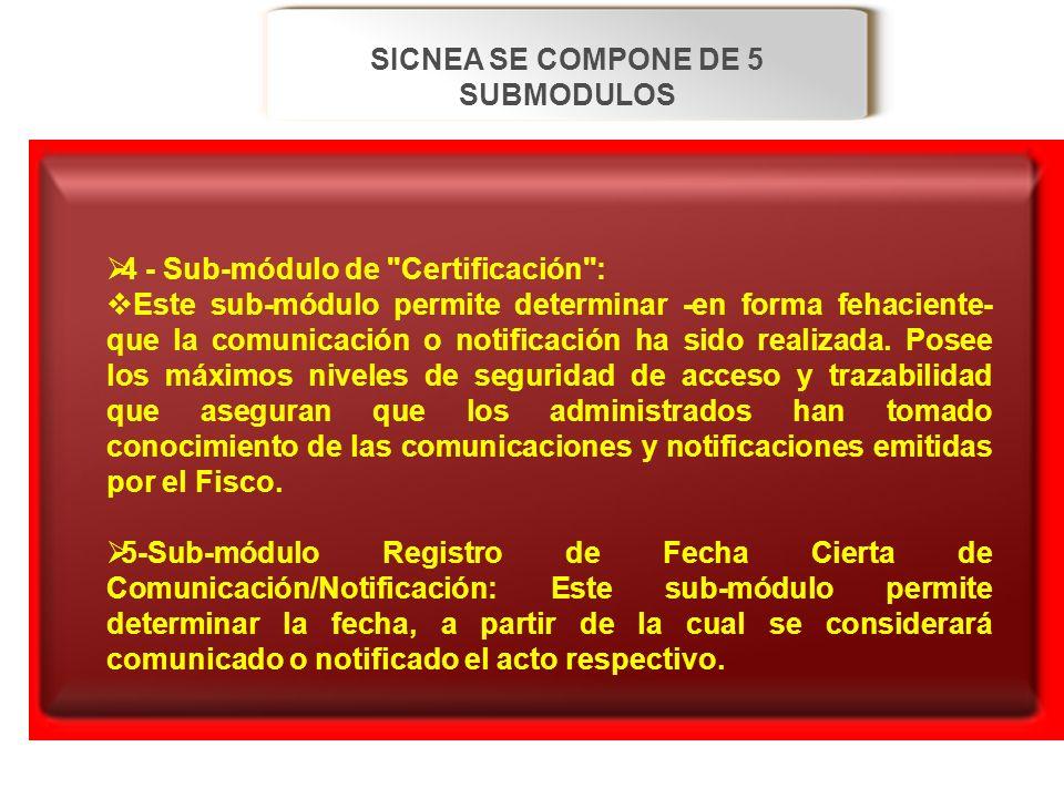 SICNEA SE COMPONE DE 5 SUBMODULOS 4 - Sub-módulo de
