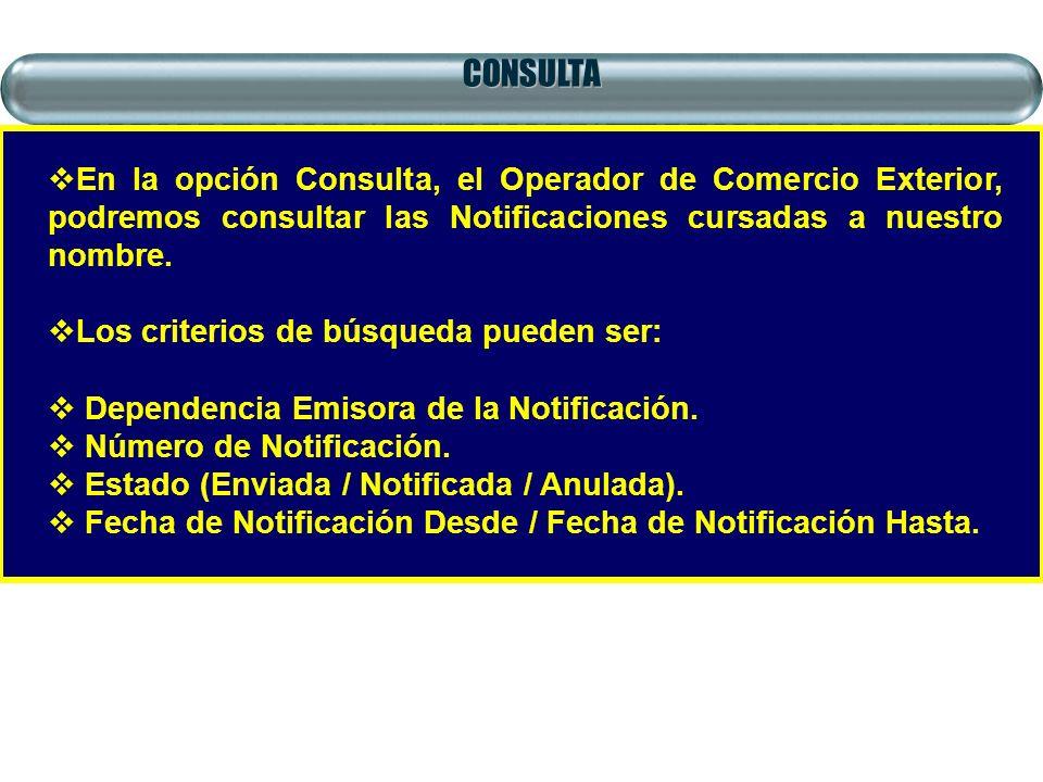 CONSULTA En la opción Consulta, el Operador de Comercio Exterior, podremos consultar las Notificaciones cursadas a nuestro nombre. Los criterios de bú