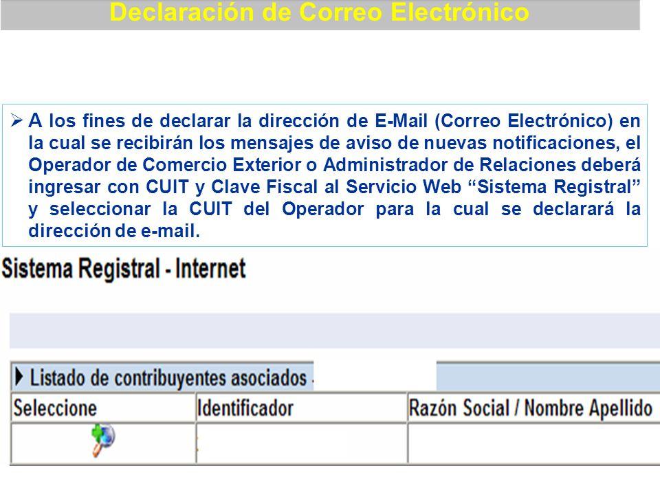 A los fines de declarar la dirección de E-Mail (Correo Electrónico) en la cual se recibirán los mensajes de aviso de nuevas notificaciones, el Operado