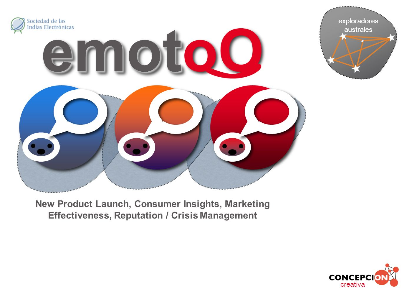emot emotoO creativa exploradores australes New Product Launch, Consumer Insights, Marketing Effectiveness, Reputation / Crisis Management