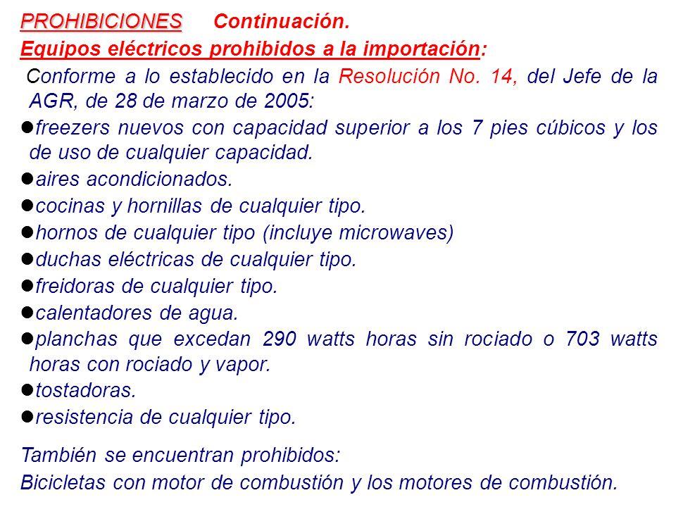 PROHIBICIONES PROHIBICIONES Continuación. Equipos eléctricos prohibidos a la importación: Conforme a lo establecido en la Resolución No. 14, del Jefe