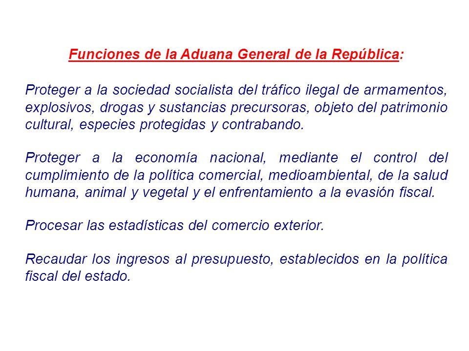 Funciones de la Aduana General de la República: Proteger a la sociedad socialista del tráfico ilegal de armamentos, explosivos, drogas y sustancias pr