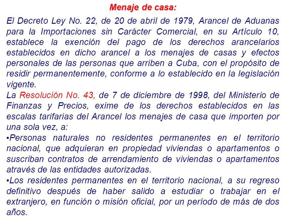 Menaje de casa: El Decreto Ley No. 22, de 20 de abril de 1979, Arancel de Aduanas para la Importaciones sin Carácter Comercial, en su Artículo 10, est