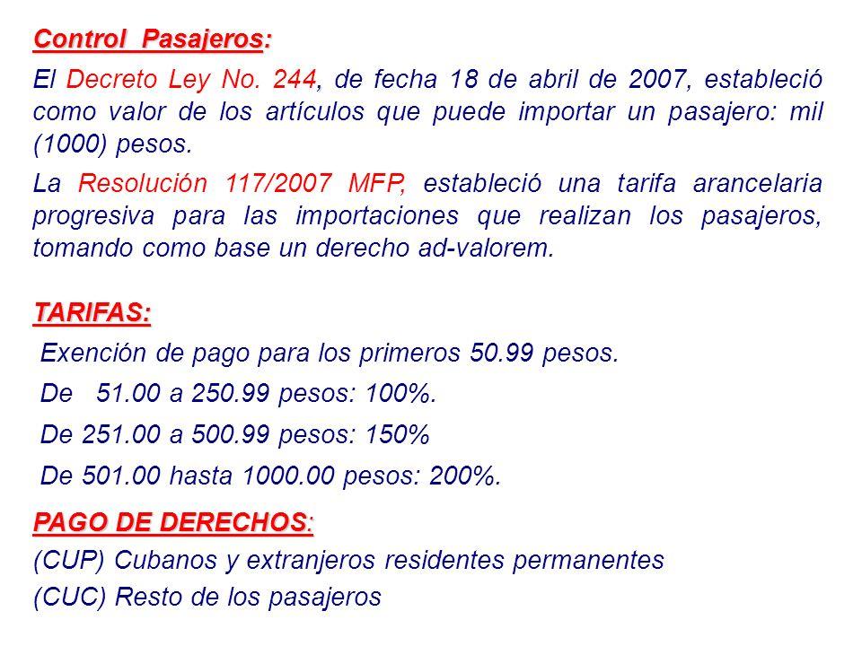 Control Pasajeros:, El Decreto Ley No. 244, de fecha 18 de abril de 2007, estableció como valor de los artículos que puede importar un pasajero: mil (
