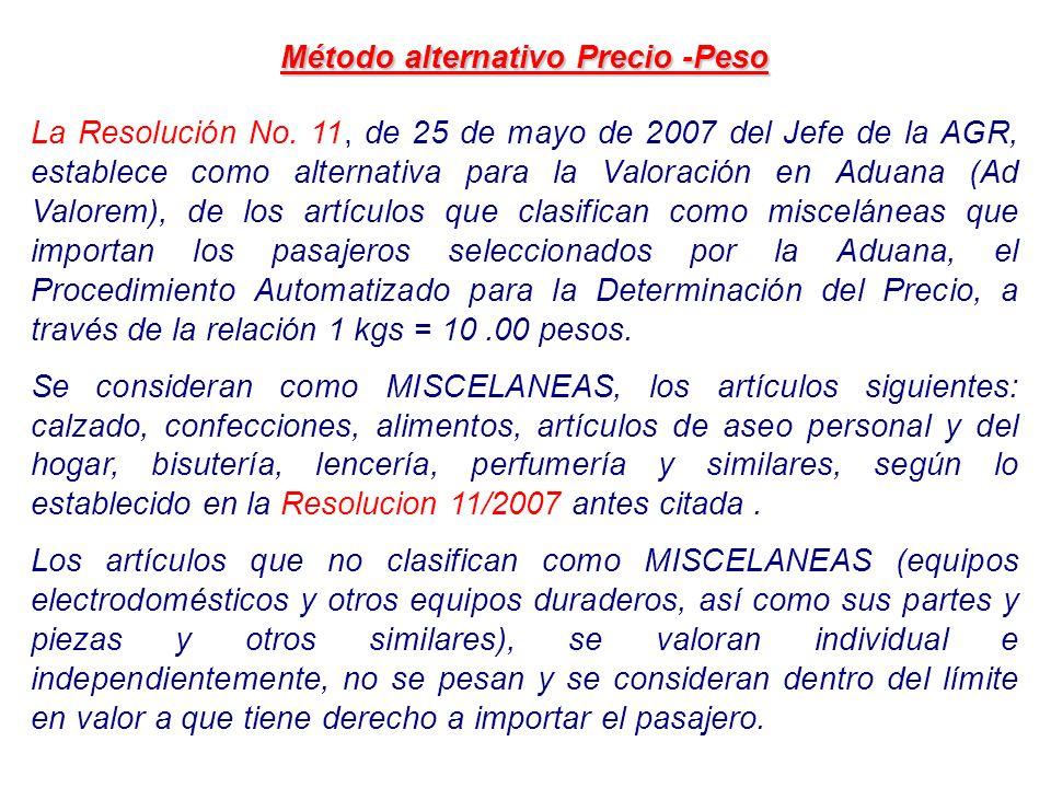 Método alternativo Precio -Peso La Resolución No. 11, de 25 de mayo de 2007 del Jefe de la AGR, establece como alternativa para la Valoración en Aduan