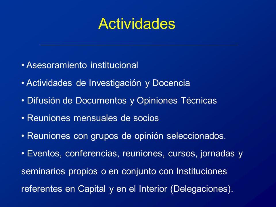 Asesoramiento institucional Actividades de Investigación y Docencia Difusión de Documentos y Opiniones Técnicas Reuniones mensuales de socios Reuniones con grupos de opinión seleccionados.