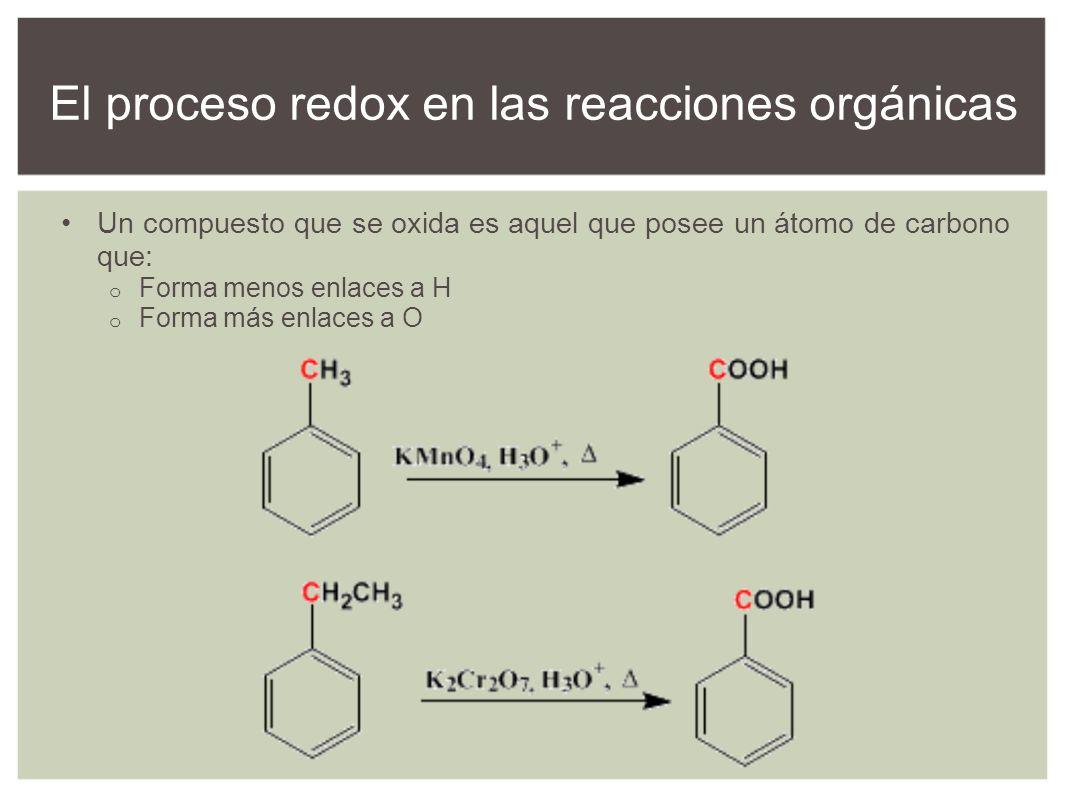 Un compuesto que se oxida es aquel que posee un átomo de carbono que: o Forma menos enlaces a H o Forma más enlaces a O El proceso redox en las reacci
