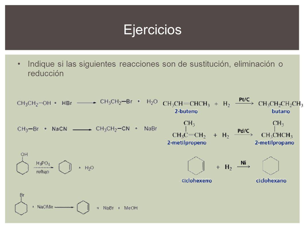Indique si las siguientes reacciones son de sustitución, eliminación o reducción Ejercicios
