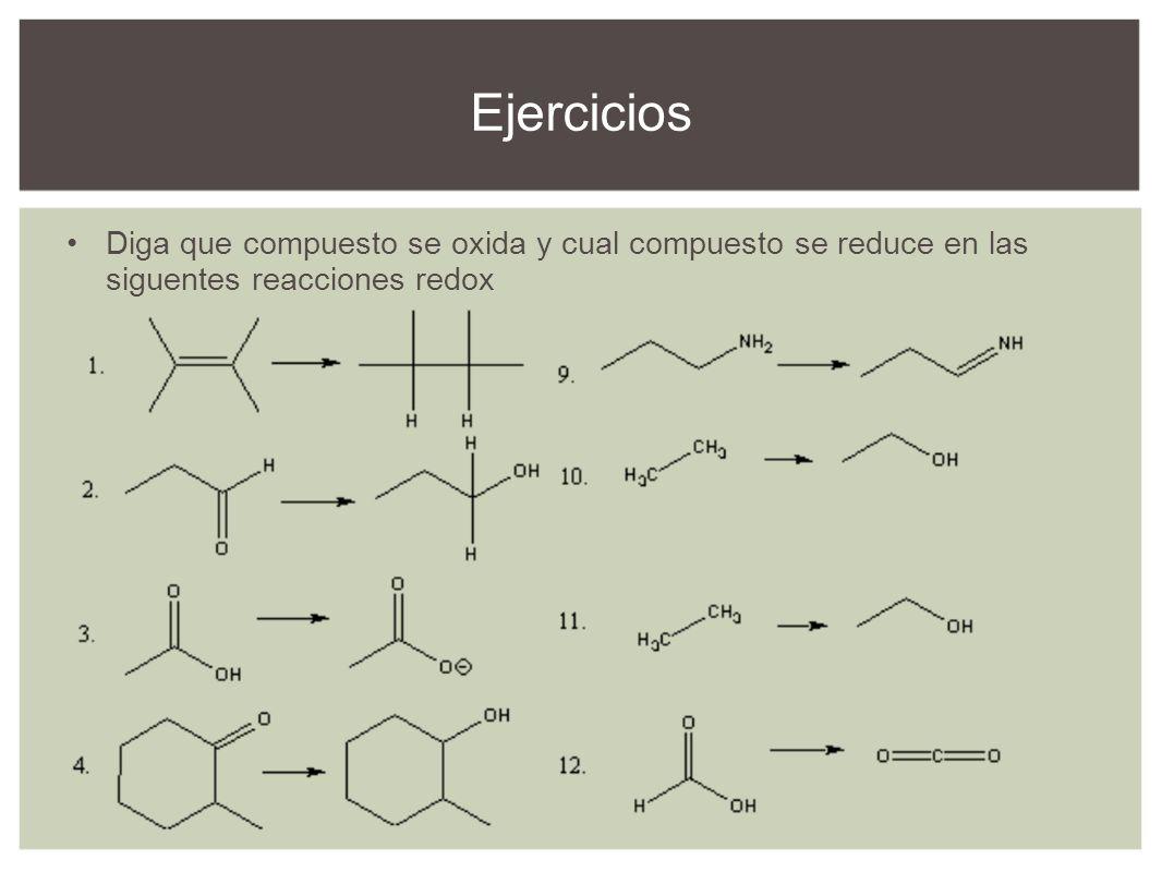 Diga que compuesto se oxida y cual compuesto se reduce en las siguentes reacciones redox Ejercicios