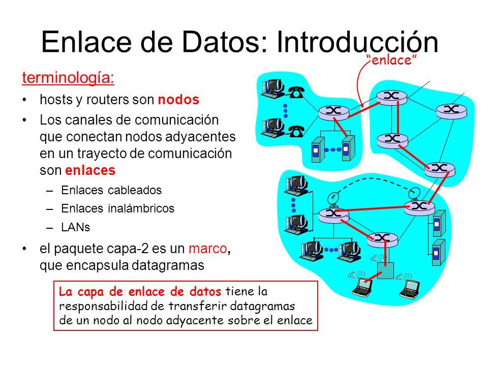 Enlace de Datos: Introducción terminología: hosts y routers son nodos Los canales de comunicación que conectan nodos adyacentes en un trayecto de comu