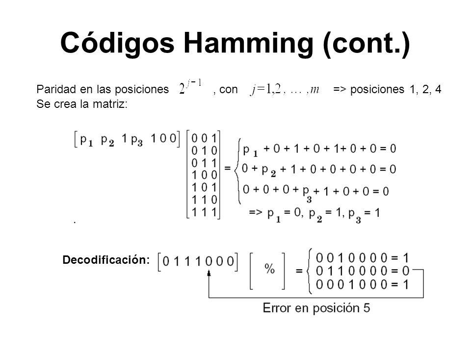 Decodificación: Paridad en las posiciones, con => posiciones 1, 2, 4 Se crea la matriz: Códigos Hamming (cont.)