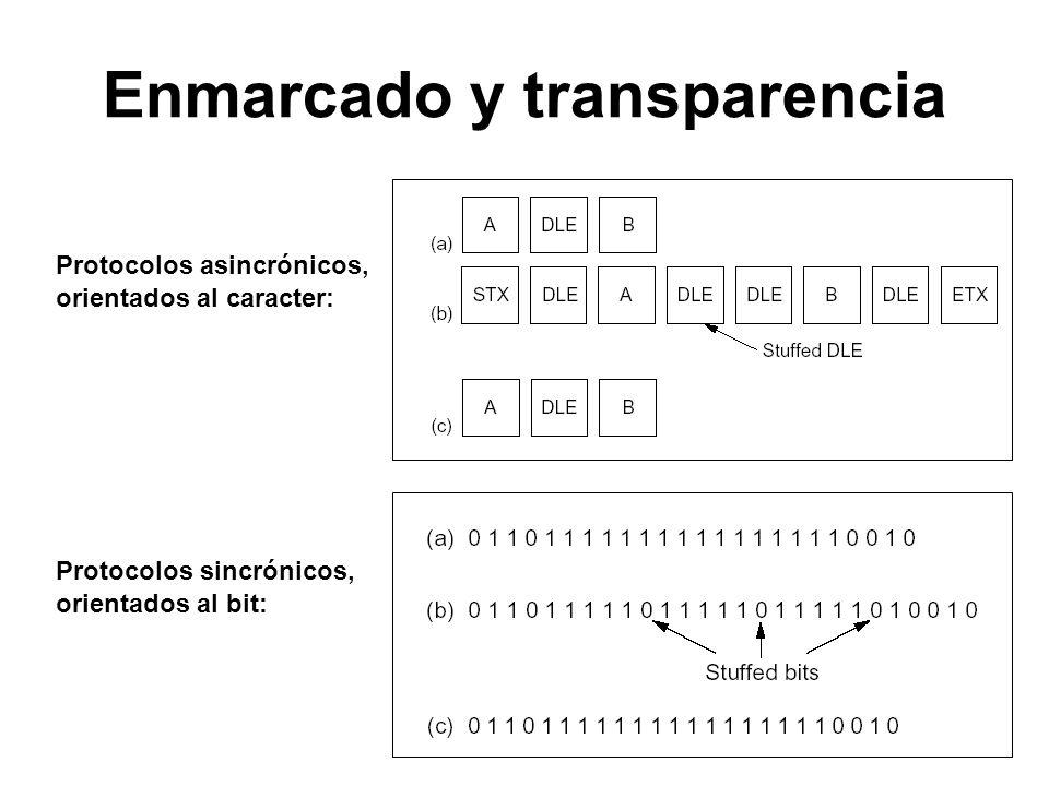 Enmarcado y transparencia Protocolos asincrónicos, orientados al caracter: Protocolos sincrónicos, orientados al bit: