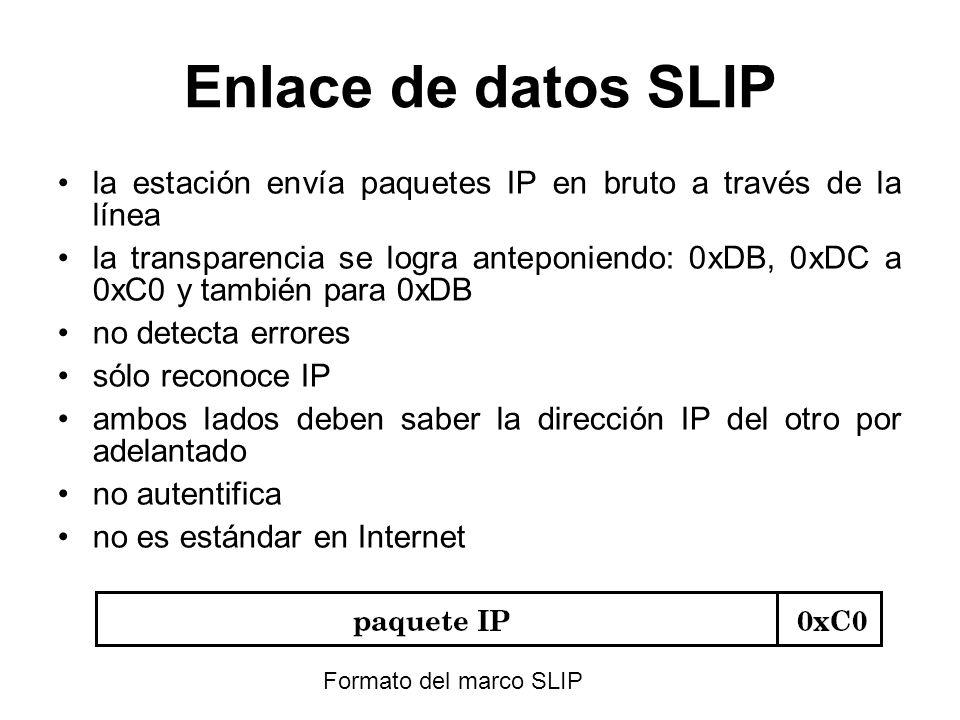 Enlace de datos SLIP la estación envía paquetes IP en bruto a través de la línea la transparencia se logra anteponiendo: 0xDB, 0xDC a 0xC0 y también p