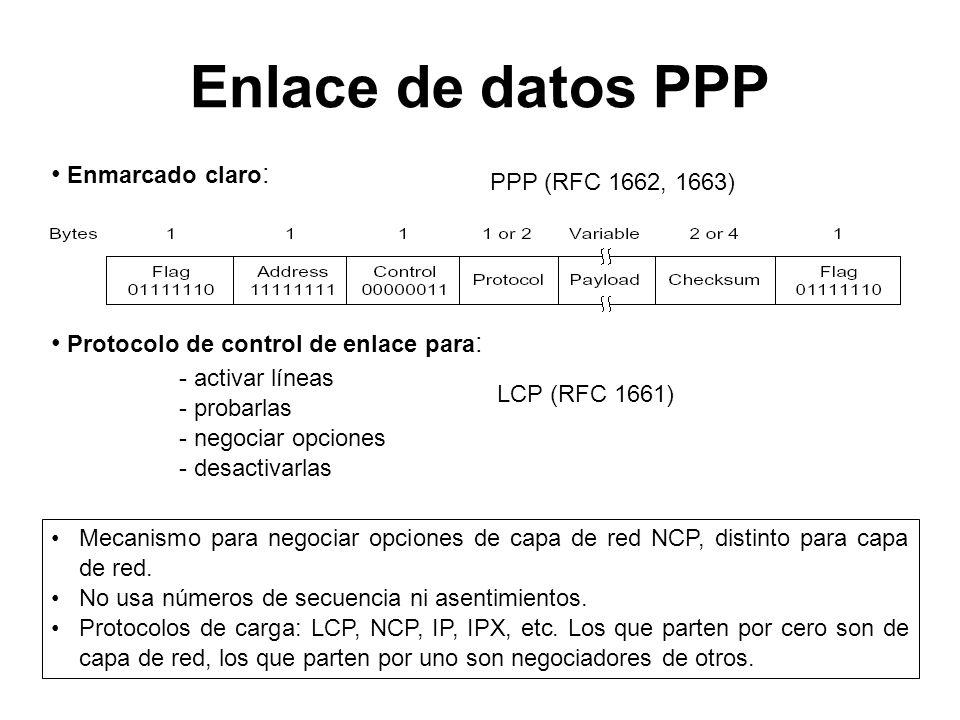 Enlace de datos PPP Mecanismo para negociar opciones de capa de red NCP, distinto para capa de red. No usa números de secuencia ni asentimientos. Prot