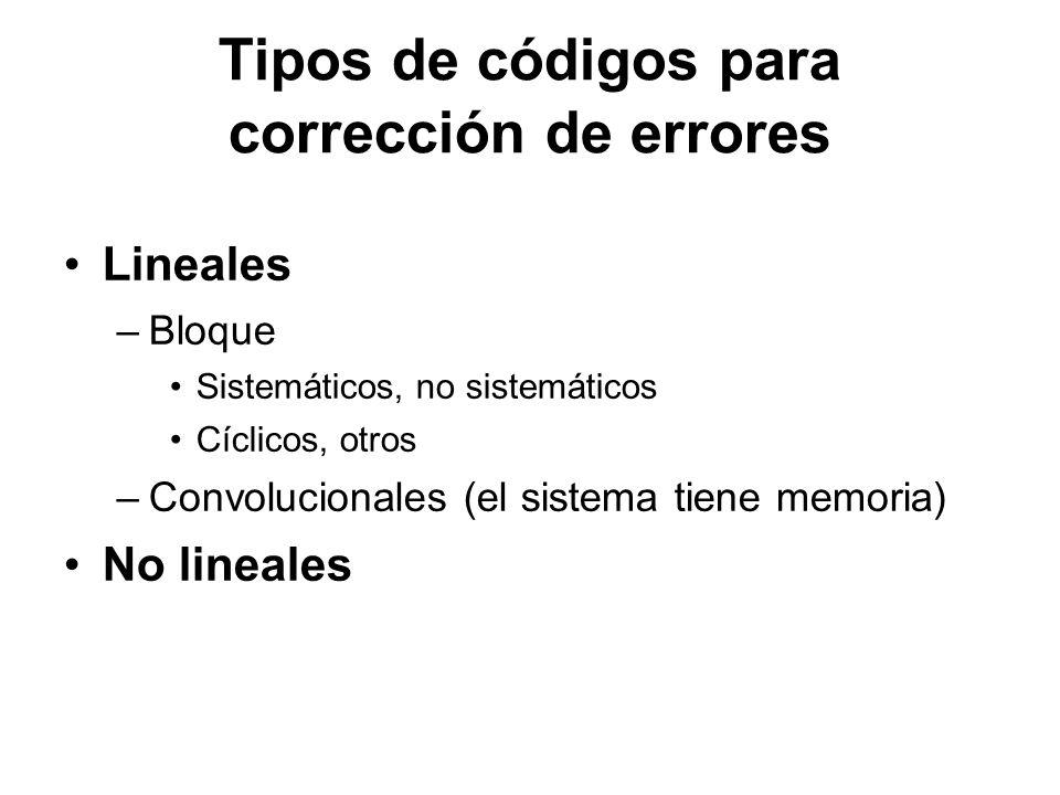 Tipos de códigos para corrección de errores Lineales –Bloque Sistemáticos, no sistemáticos Cíclicos, otros –Convolucionales (el sistema tiene memoria)
