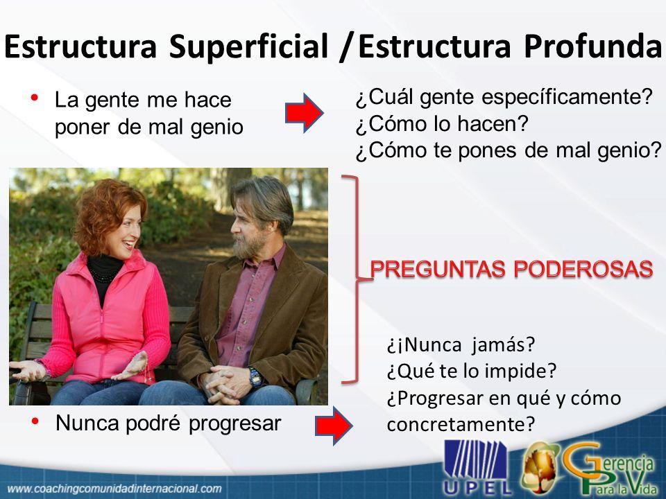 Estructura Superficial / Estructura Profunda Palabras o conjunto de palabras con sonidos, símbolos o signos de quien habla o escribe Lo que significa