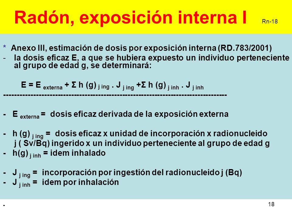18 Radón, exposición interna I Rn-18 * Anexo III, estimación de dosis por exposición interna (RD.783/2001) -la dosis eficaz E, a que se hubiera expues
