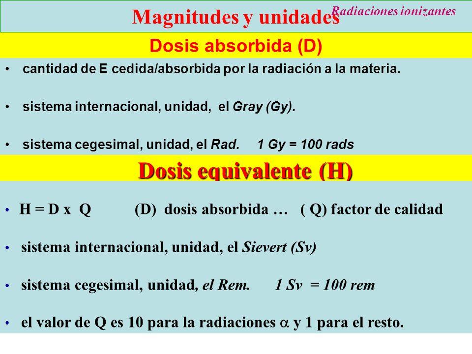 23 Dosis absorbida (D) cantidad de E cedida/absorbida por la radiación a la materia. sistema internacional, unidad, el Gray (Gy). sistema cegesimal, u