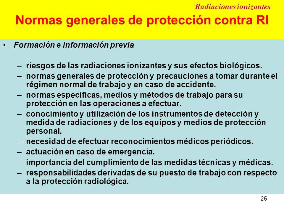 25 Normas generales de protección contra RI Formación e información previa –riesgos de las radiaciones ionizantes y sus efectos biológicos. –normas ge