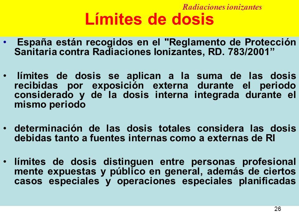 26 Límites de dosis España están recogidos en el