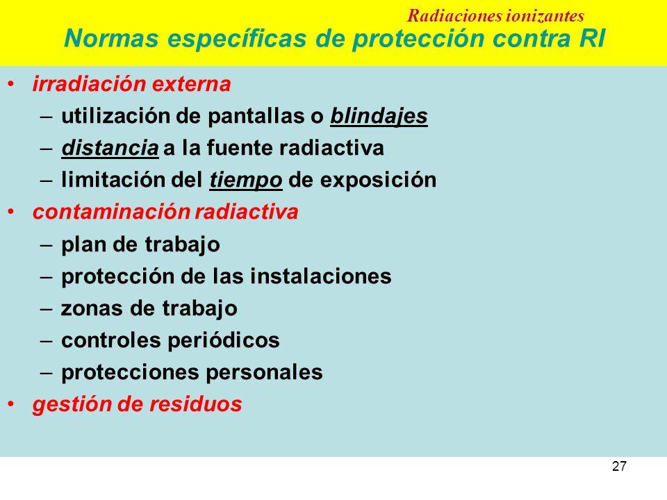 27 Normas específicas de protección contra RI irradiación externa –utilización de pantallas o blindajes –distancia a la fuente radiactiva –limitación