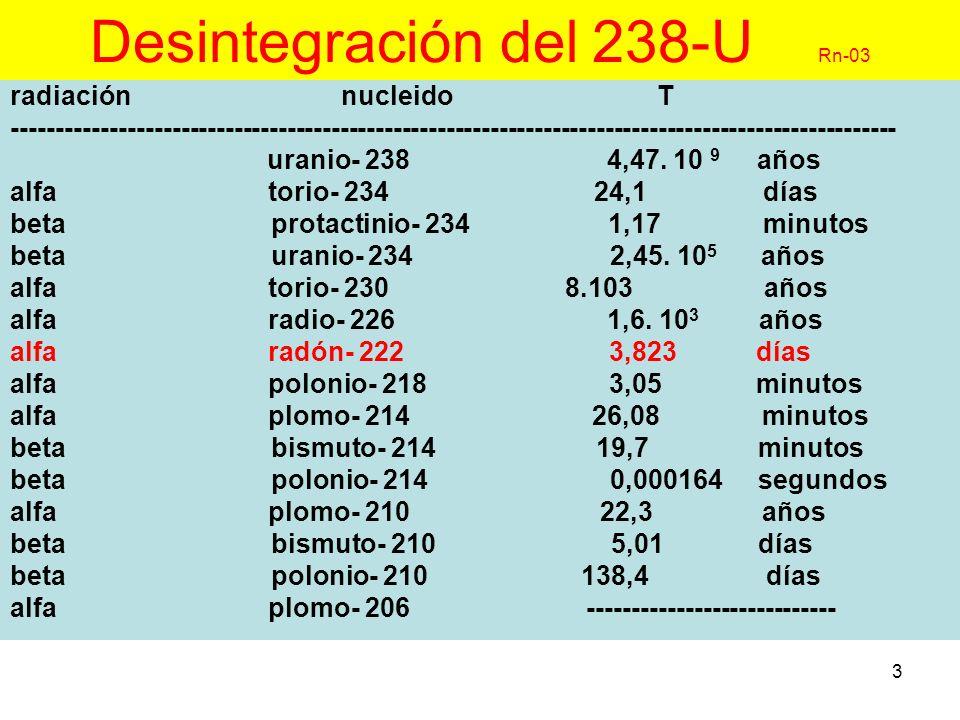 14 Radón, mediciones I Rn-14 - elección vendrá condicionada por el, instrumental disponible, coste, y duración de la medición a efectuar -medición de concentración Rn ó características descendientes -dependiendo del tiempo de muestreo, métodos:.