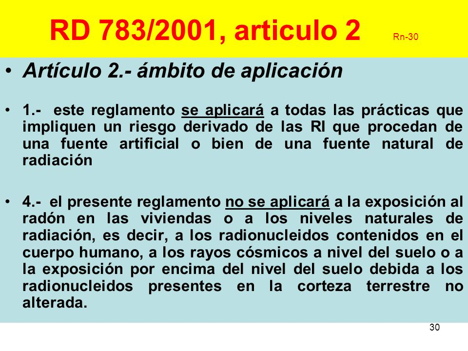 30 RD 783/2001, articulo 2 Rn-30 Artículo 2.- ámbito de aplicación 1.- este reglamento se aplicará a todas las prácticas que impliquen un riesgo deriv