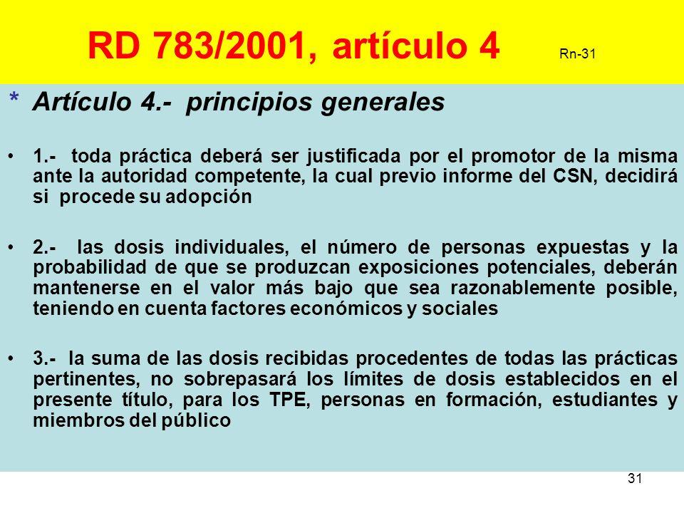 31 RD 783/2001, artículo 4 Rn-31 * Artículo 4.- principios generales 1.- toda práctica deberá ser justificada por el promotor de la misma ante la auto
