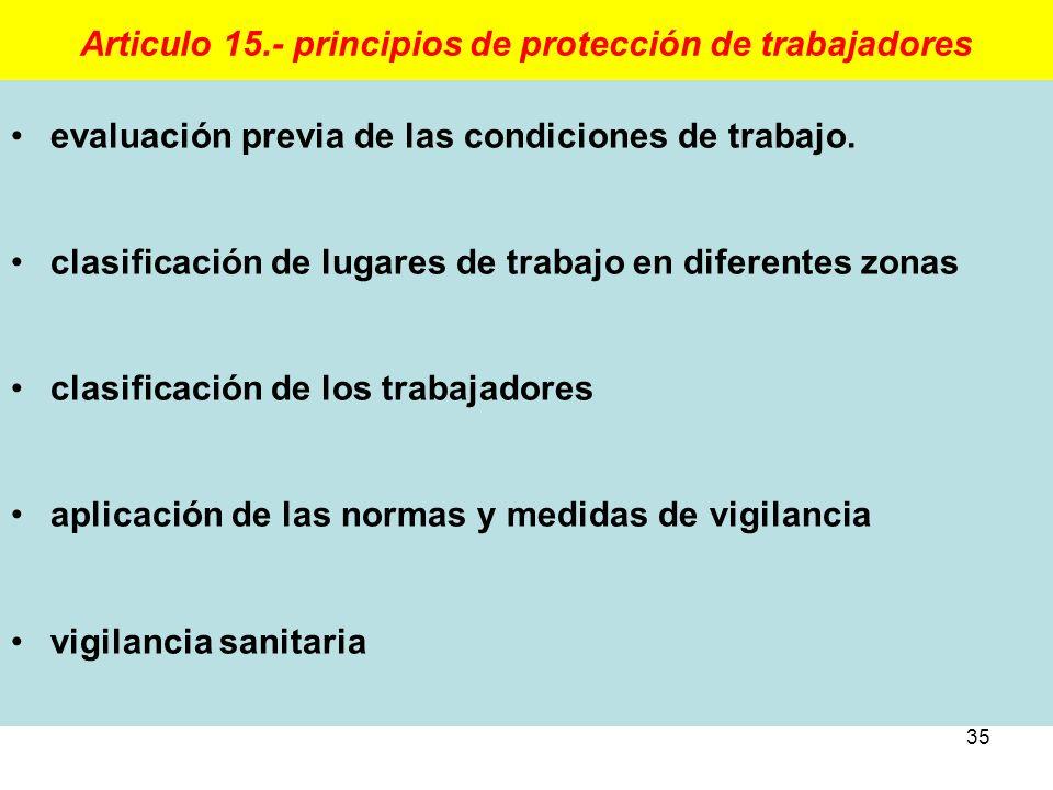 35 Articulo 15.- principios de protección de trabajadores evaluación previa de las condiciones de trabajo. clasificación de lugares de trabajo en dife