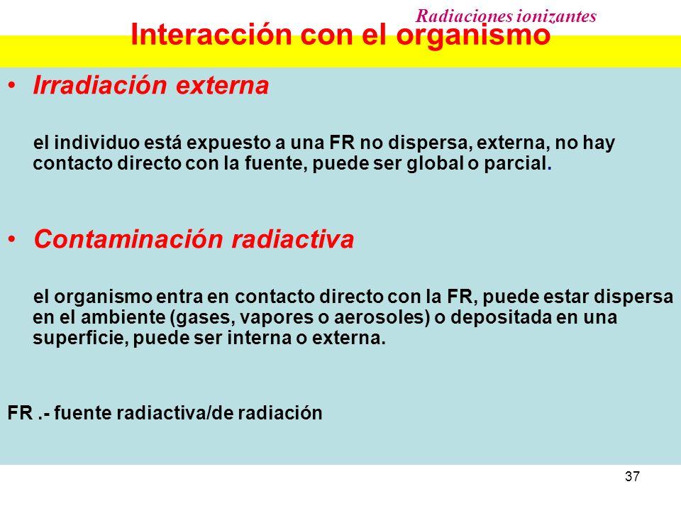 37 Interacción con el organismo Irradiación externa el individuo está expuesto a una FR no dispersa, externa, no hay contacto directo con la fuente, p