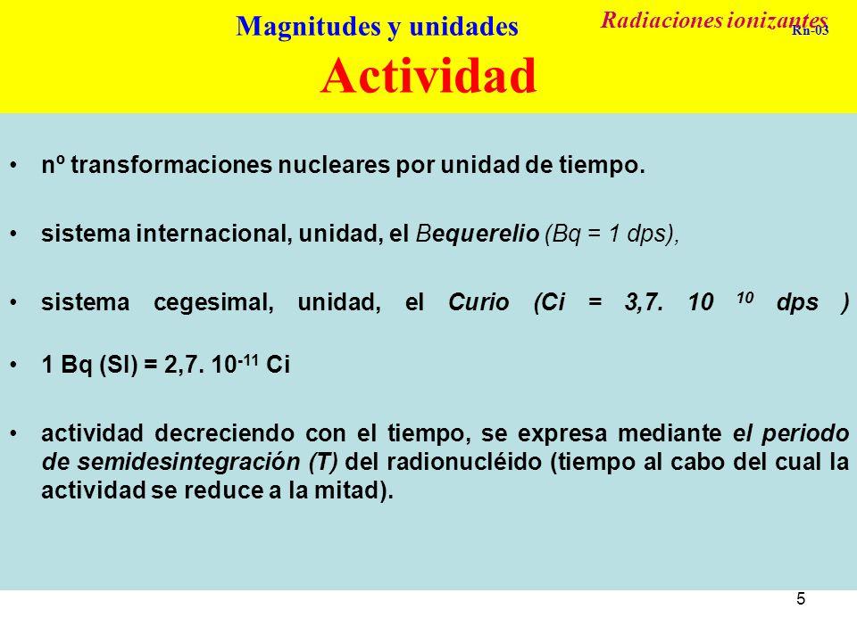 5 Actividad (A) nº transformaciones nucleares por unidad de tiempo. sistema internacional, unidad, el Bequerelio (Bq = 1 dps), sistema cegesimal, unid