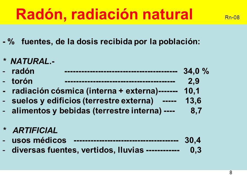 19 Radón, exposición interna II Rn-19 Anexo III, estimación de dosis por exposición interna, -(c) referente a progenie del radón y torón, aplicar los siguientes factores de conversión convencionales de dosis efectiva por unidad de exposición potencial de energía alfa (Sv x Jh/ m 3 ) -Radón en el hogar ------------ 1,1 -Radón en el trabajo ---------- 1,4 -Torón en el trabajo ----------- 0,5 energía alfa potencial ( progenie del radón y torón) energía α total emitida durante la desintegración del Rn y torón la unidad es el julio caso de exposición a una determinada concentración durante un tiempo determinado, la unidad es Jh/ m 3