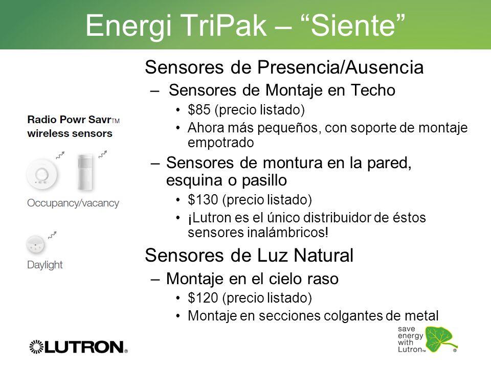 Energi TriPak – Siente Sensores de Presencia/Ausencia –Sensores de Montaje en Techo $85 (precio listado) Ahora más pequeños, con soporte de montaje em