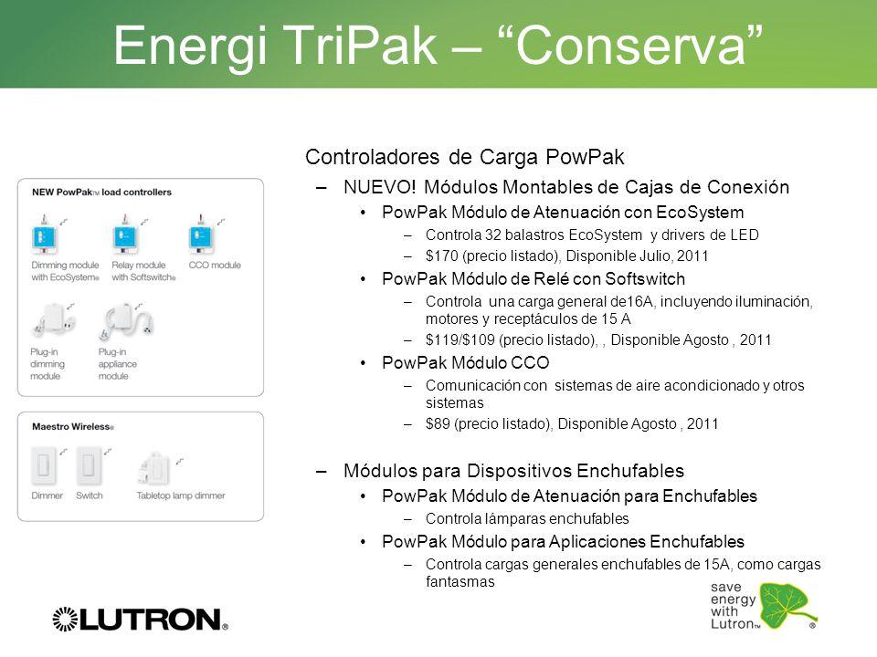 Energi TriPak – Conserva Controladores de Carga PowPak –NUEVO! Módulos Montables de Cajas de Conexión PowPak Módulo de Atenuación con EcoSystem –Contr