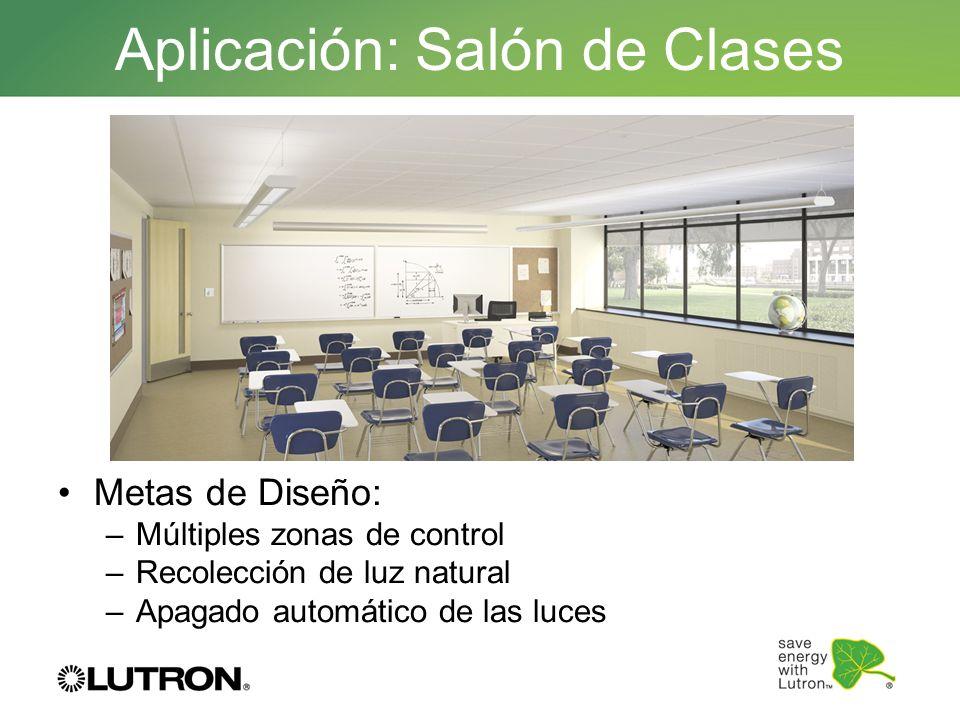 Metas de Diseño: –Múltiples zonas de control –Recolección de luz natural –Apagado automático de las luces Aplicación: Salón de Clases
