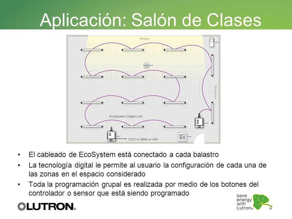 El cableado de EcoSystem está conectado a cada balastro La tecnología digital le permite al usuario la configuración de cada una de las zonas en el es