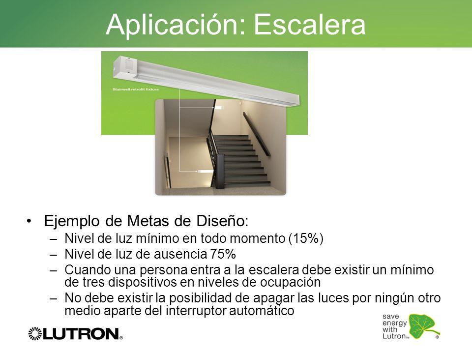 Ejemplo de Metas de Diseño: –Nivel de luz mínimo en todo momento (15%) –Nivel de luz de ausencia 75% –Cuando una persona entra a la escalera debe exis