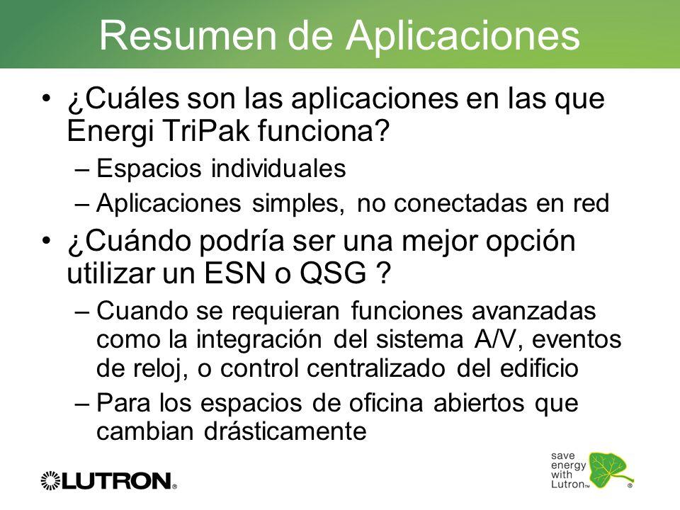 Resumen de Aplicaciones ¿Cuáles son las aplicaciones en las que Energi TriPak funciona? –Espacios individuales –Aplicaciones simples, no conectadas en