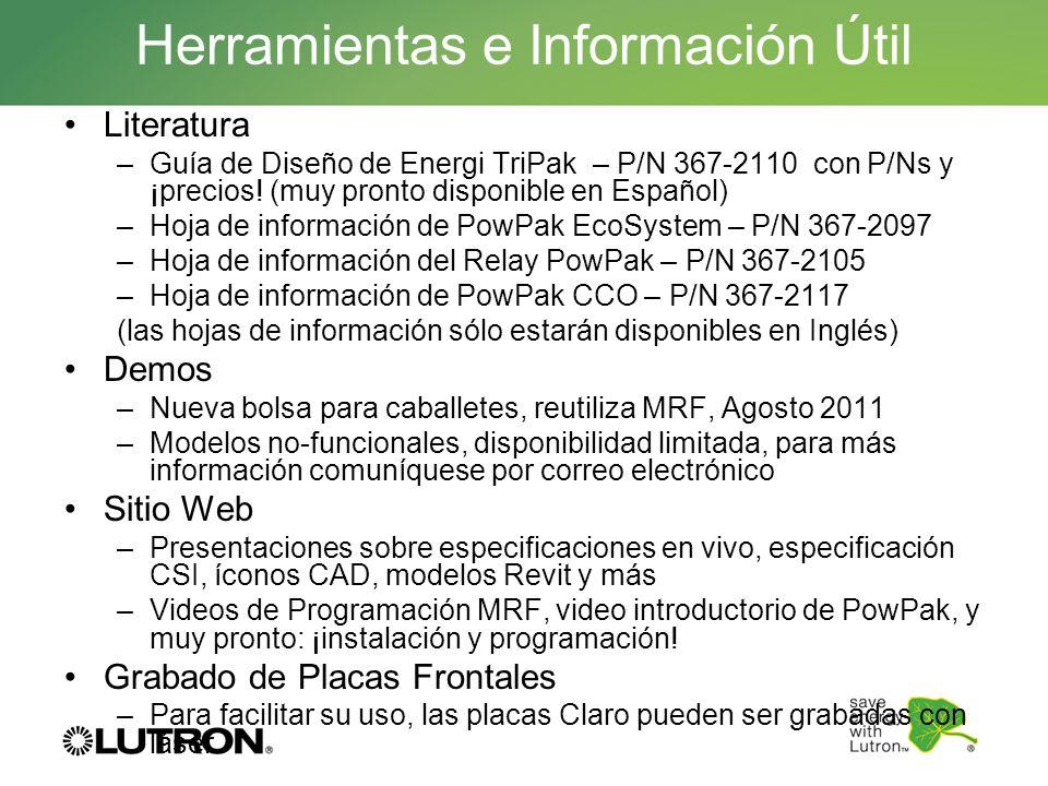 Herramientas e Información Útil Literatura –Guía de Diseño de Energi TriPak – P/N 367-2110 con P/Ns y ¡precios! (muy pronto disponible en Español) –Ho