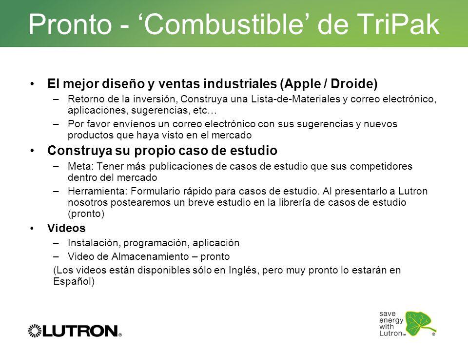 Pronto - Combustible de TriPak El mejor diseño y ventas industriales (Apple / Droide) –Retorno de la inversión, Construya una Lista-de-Materiales y co
