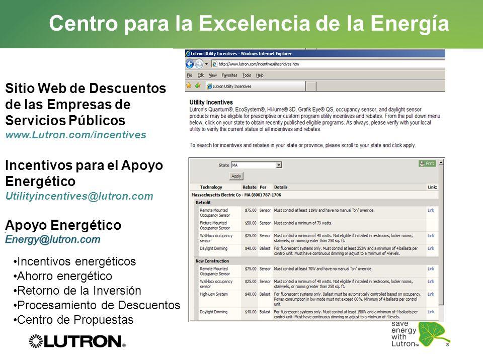 Centro para la Excelencia de la Energía Incentivos energéticos Ahorro energético Retorno de la Inversión Procesamiento de Descuentos Centro de Propues