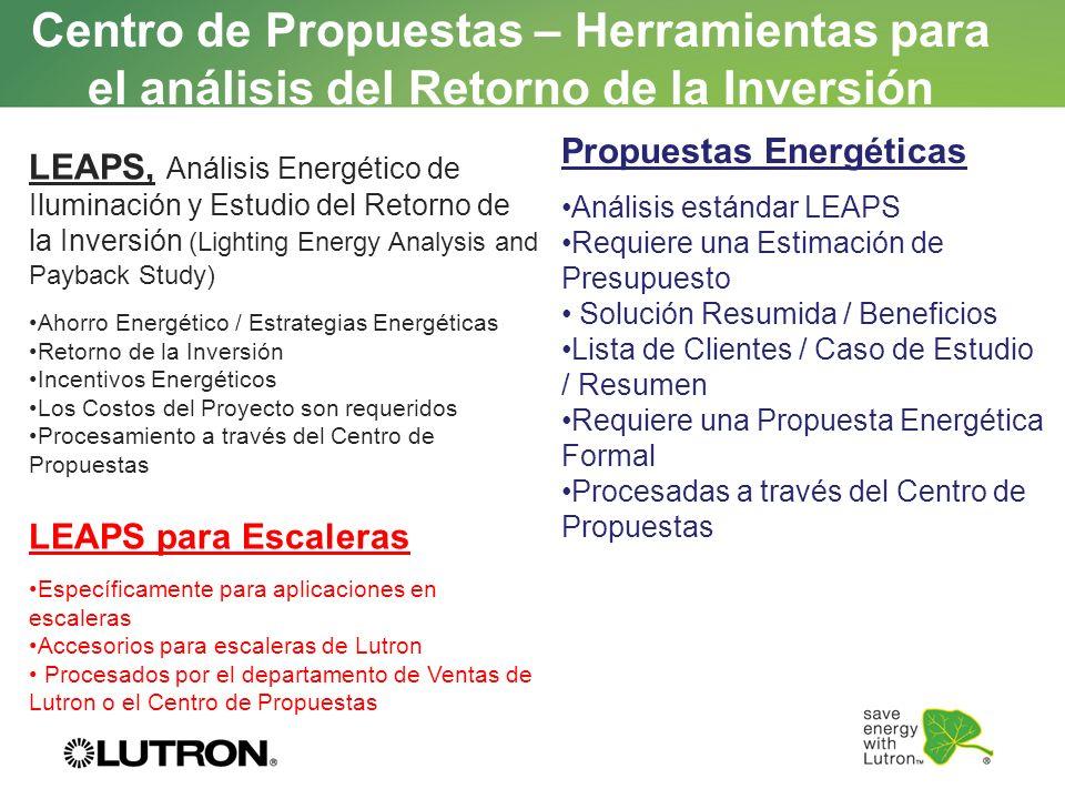 Centro de Propuestas – Herramientas para el análisis del Retorno de la Inversión LEAPS, Análisis Energético de Iluminación y Estudio del Retorno de la