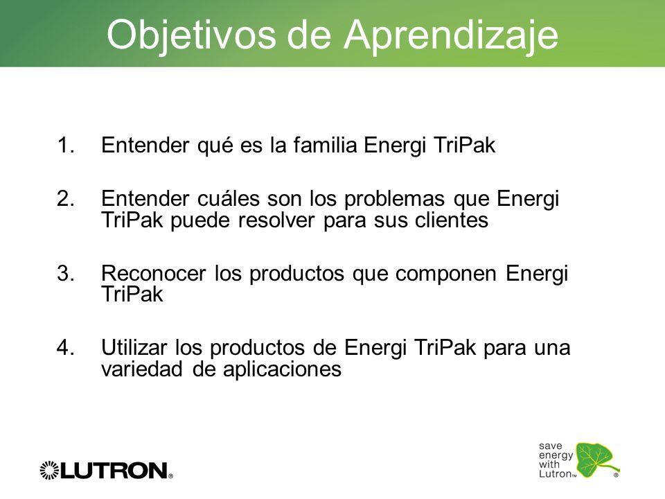 Objetivos de Aprendizaje 1.Entender qué es la familia Energi TriPak 2.Entender cuáles son los problemas que Energi TriPak puede resolver para sus clie