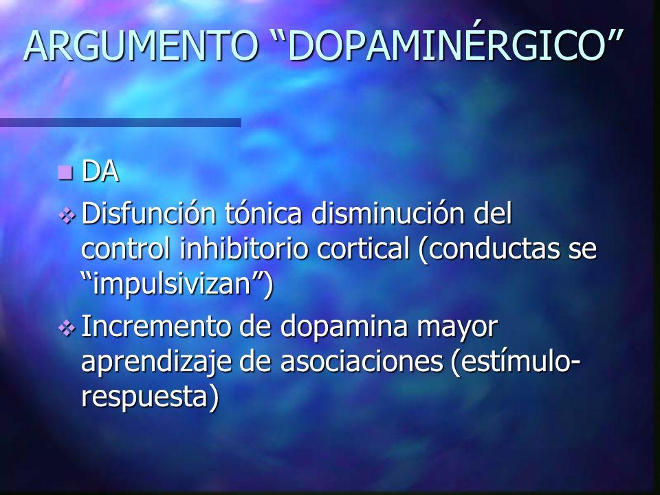 ARGUMENTO DOPAMINÉRGICO DA DA Disfunción tónica disminución del control inhibitorio cortical (conductas se impulsivizan) Disfunción tónica disminución
