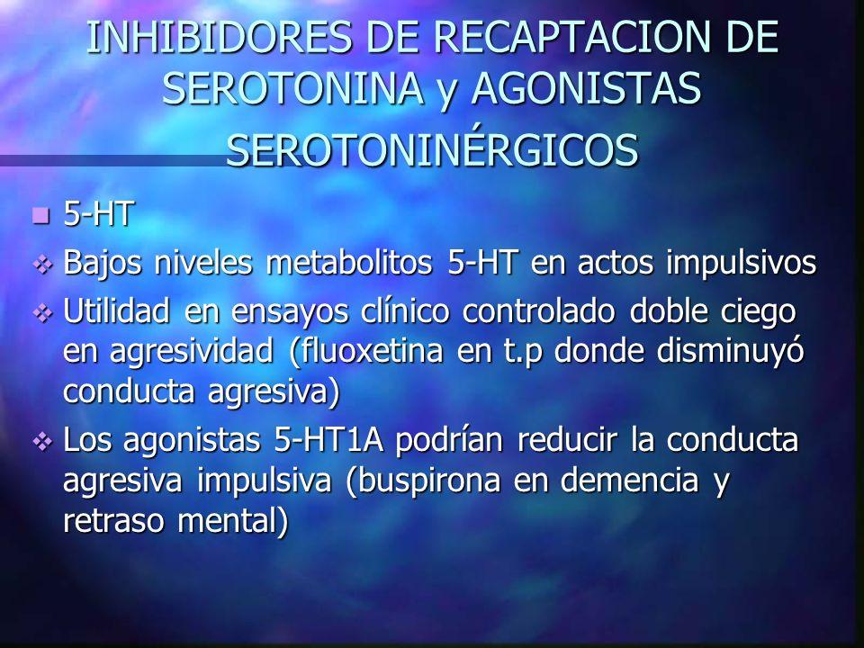 INHIBIDORES DE RECAPTACION DE SEROTONINA y AGONISTAS SEROTONINÉRGICOS 5-HT 5-HT Bajos niveles metabolitos 5-HT en actos impulsivos Bajos niveles metab
