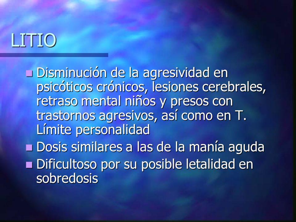LITIO Disminución de la agresividad en psicóticos crónicos, lesiones cerebrales, retraso mental niños y presos con trastornos agresivos, así como en T