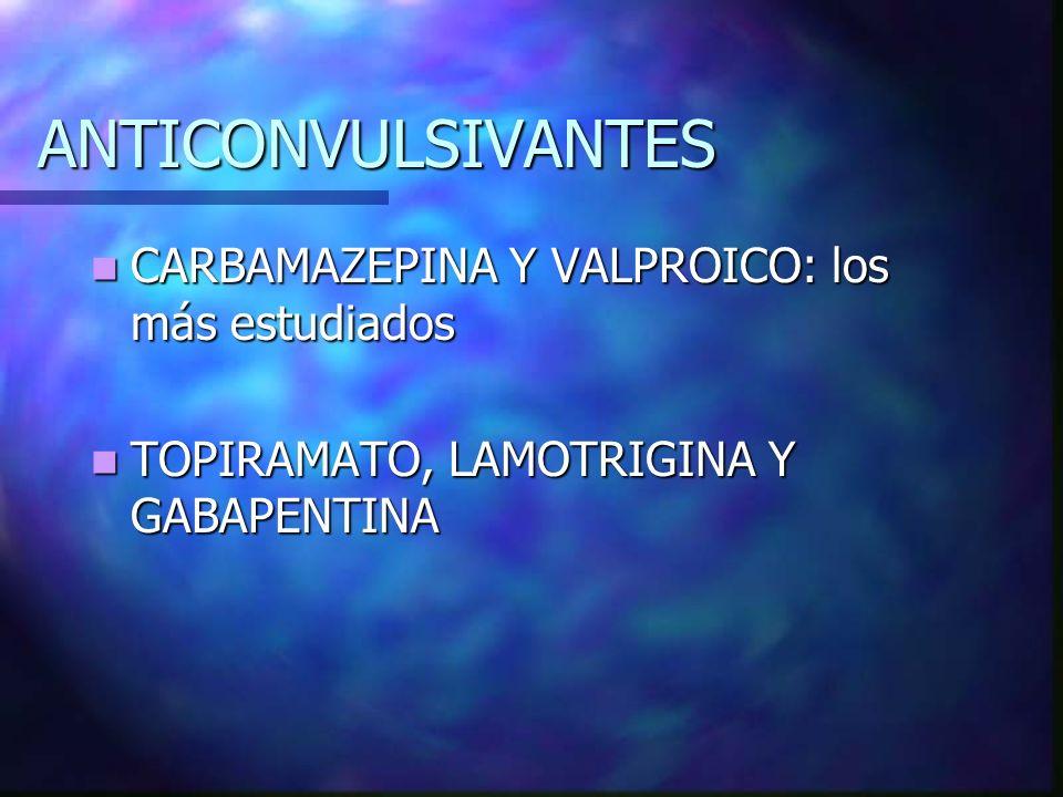 ANTICONVULSIVANTES CARBAMAZEPINA Y VALPROICO: los más estudiados CARBAMAZEPINA Y VALPROICO: los más estudiados TOPIRAMATO, LAMOTRIGINA Y GABAPENTINA T