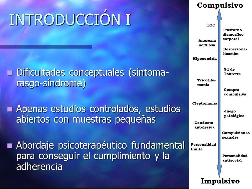 INTRODUCCIÓN I Dificultades conceptuales (síntoma- rasgo-síndrome) Dificultades conceptuales (síntoma- rasgo-síndrome) Apenas estudios controlados, es