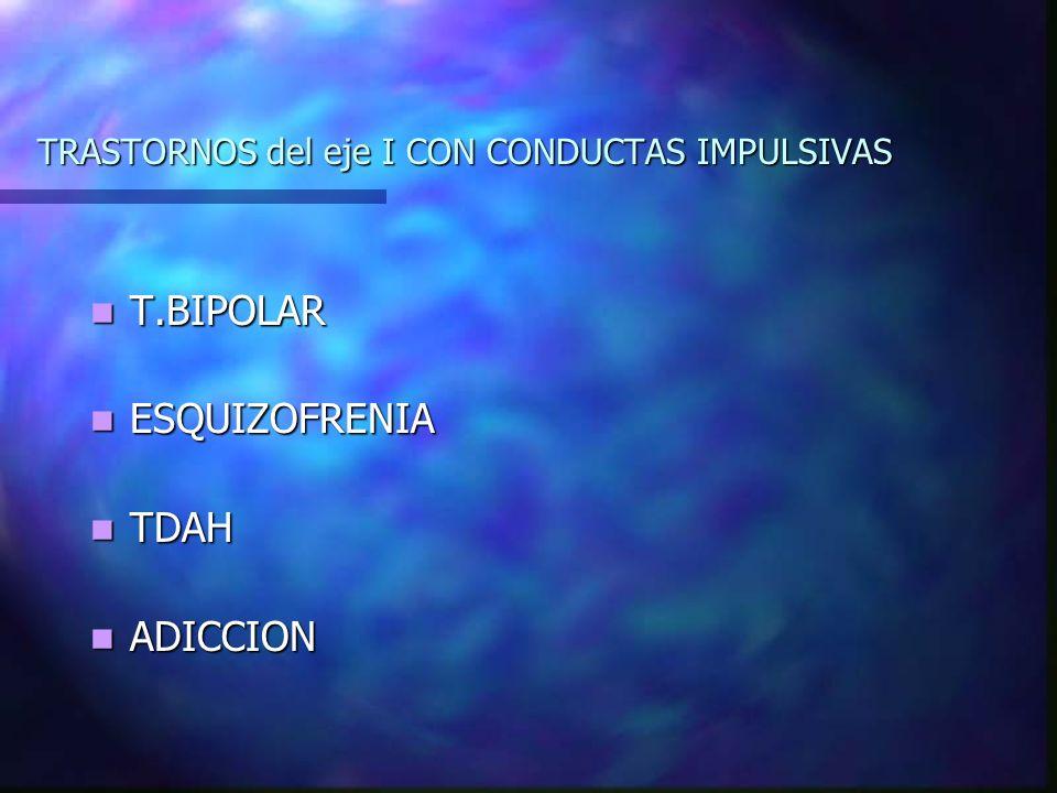 TRASTORNOS del eje I CON CONDUCTAS IMPULSIVAS T.BIPOLAR T.BIPOLAR ESQUIZOFRENIA ESQUIZOFRENIA TDAH TDAH ADICCION ADICCION
