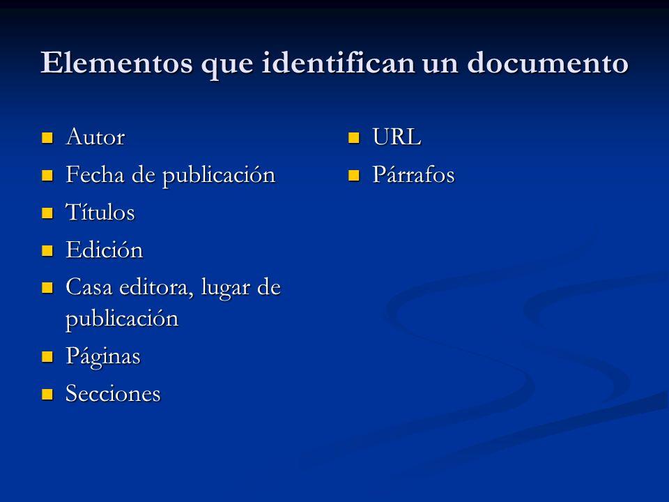 Elementos que identifican un documento Autor Autor Fecha de publicación Fecha de publicación Títulos Títulos Edición Edición Casa editora, lugar de pu